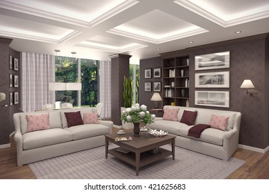 3D rendering of living room in classic style.The interior is decorated with wood.