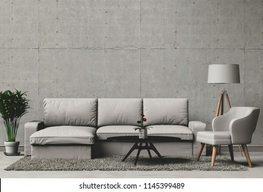 3D rendering of living room with concrete wall in modern house, Loft interior design