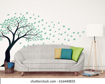 3D Rendering, Living Room with Decorative Wall Decal