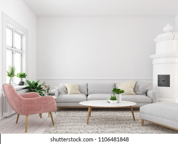 3d rendering. living room with empty wall for picture frames