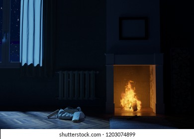 3d rendering of living room with fireplace at deep night