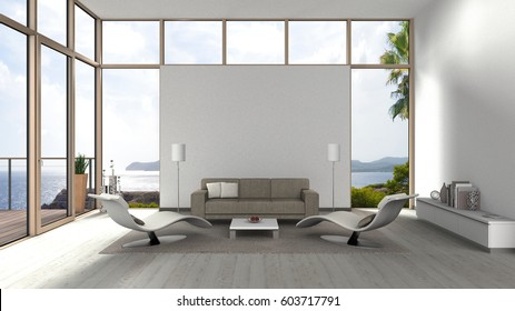3D rendering of a living room with glass front windows, terrace and view to the sea and coast