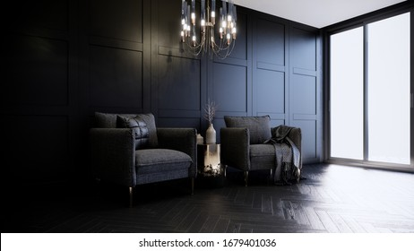3d rendering living room interior decorated by warm lighting handelier black, classic wall panel dark and monotone style room.