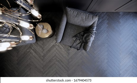 3d rendering living room interior decorated by lassic wall panel dark and monotone style room view from top.
