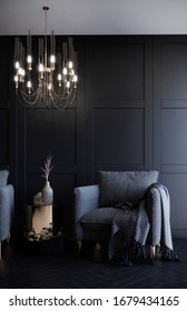 3d rendering living room interior decorated by warm lighting handelier black classic wall panel dark and monotone style room.