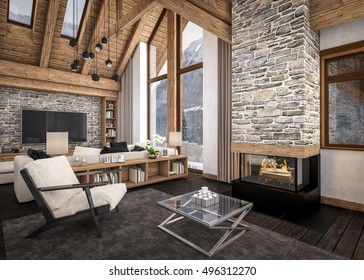 3D rendering of living room, kitchen and dining room and stair are combined in one area of chalet. Rafter beam system decorates the interior.