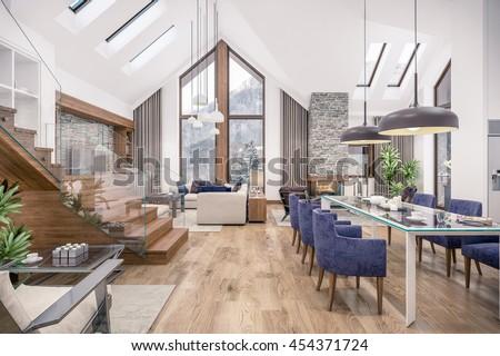 3 D Rendering Living Room Kitchen Dining Stock Illustration