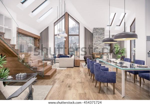 3D-Darstellung von Wohnzimmer, Küche und Esszimmer und Treppe sind in einem Bereich des Chalets kombiniert. Die Inneneinrichtung ist mit Holz und natürlichen Materialien dekoriert.