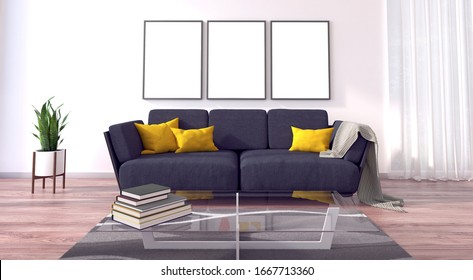 3d rendering of a living room with sofa, table, books and decoration. This render gives the idea of a light and sunny living room. Furniture is modern and comfortable.