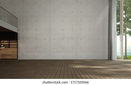 The 3d rendering of livinng room interior design and concrete wall background