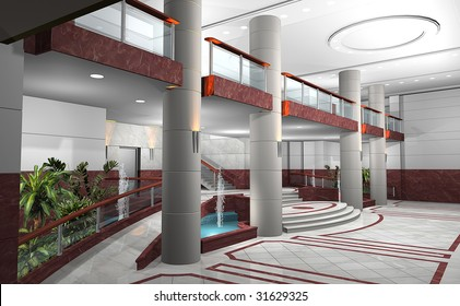 3D rendering of a lobby