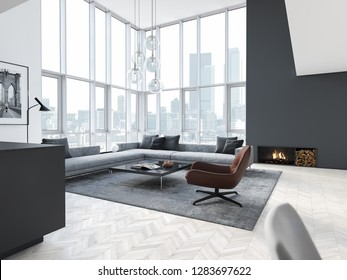 3d rendering. loft apartment with living room