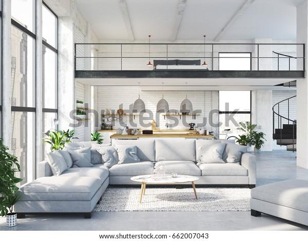 Amazing 3D Rendering Loft Apartment Living Room Stockillustration Home Interior And Landscaping Oversignezvosmurscom
