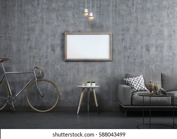 3D Rendering of Loft Living Room Interior Design with Wooden Picture Frame Mock Up on Concrete Wall.