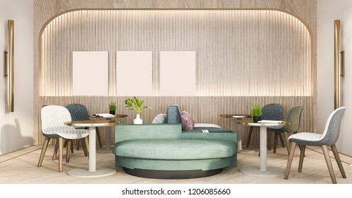 3d rendering loft and luxury hotel reception and cafe lounge restaurant