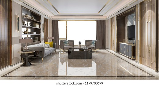 3d rendering loft luxury living room with bookshelf