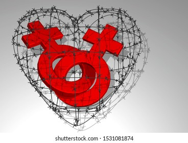 3D rendering. Logos of a man and a woman inside the barbed wire in the form of a heart. The concept of same-sex marriage.