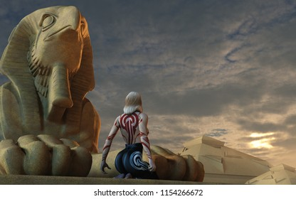 3D rendering of a lonely young woman in an epic and majestic fantasy environment with celestial elements