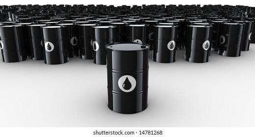 3d rendering of lots of oil drums