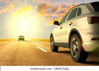3D rendering of a low angle view of cars on motion on the road