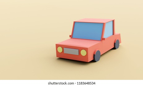 3D rendering of low poly car on dirt track