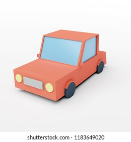 3D rendering of low poly car isolated on white