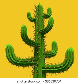 3d rendering. Low poly cartoon stylized  cactus. Plant isolated on vivid yellow background.