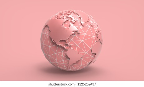 3D rendering low poly earth template on pastel pink background with clipping path for diecut to use in any backdrop