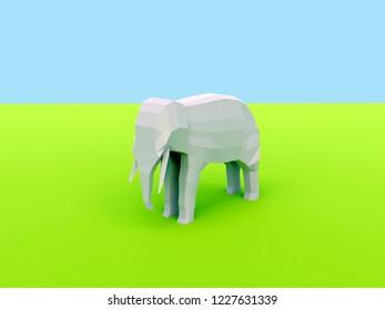 3d rendering of low poly elephant on green savannah