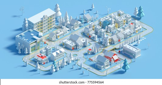 3d rendering of low poly isometric city in the winter. Town building, trees and roads on blue background. Isolated city block at day