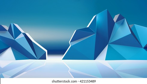 3D rendering - low poly mountains