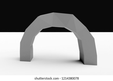 3d rendering of low poly rock gate, isolated
