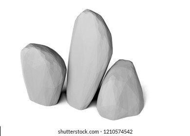 3d rendering of low poly rocks, isolated