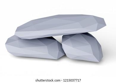 3d rendering of low poly rocks
