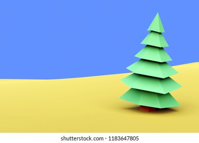 3D rendering of low poly spruce with environment