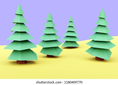 3D rendering of low poly style trees