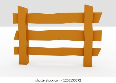 3d rendering of low poly style fence