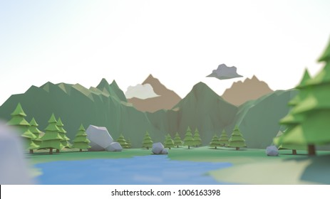 3d rendering of low poly trees and mountains