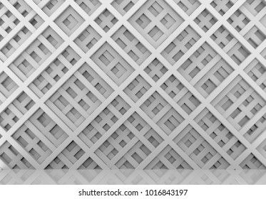 3d rendering. Luxurious diagonal White bars in modern geometic pattern wall background