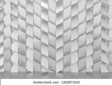 3d rendering. Luxurious gray trapezoid shape tile pattern wall background.