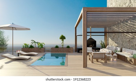 3D rendering of luxurious sundeck with swimming pool and clear view. Deck chairs with umbrella and fruit cocktails next to water. Bioclimatic pergola and tea wood flooring.