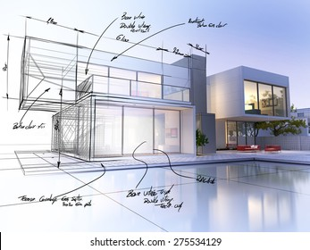 3D rendering of a luxurious villa contrasting with a technical draft part