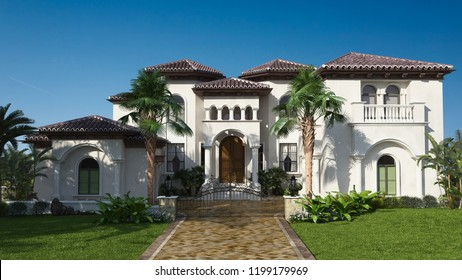 3d rendering luxurious villa with palm tree entrance