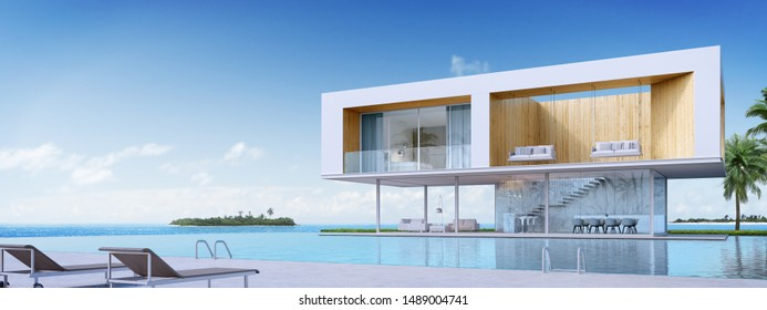 3D rendering : Luxury beach house with sea view swimming pool and terrace in modern design, Lounge chairs  floor deck at vacation home.