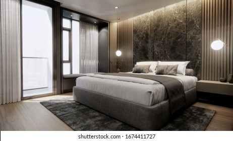 3d rendering a luxury bedroom interior with bedding sheet dark tone and modern style, stone and wooden headboard, wooden floor.