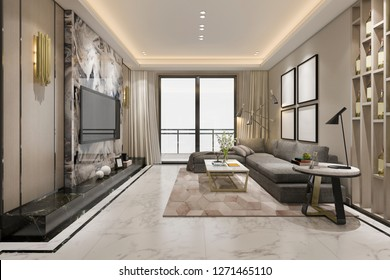 3d rendering luxury classic living room with marble tile and bookshelf
