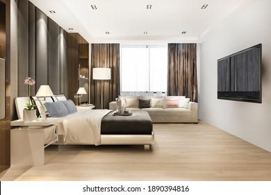 3d rendering luxury classic modern bedroom suite in hotel