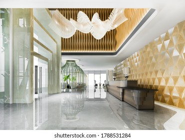 3d rendering luxury hotel reception hall and classic office with modern counter
