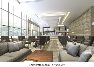 3d rendering luxury hotel reception and lounge restaurant