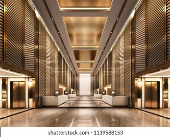 3d rendering luxury Lift lobby Hotel with Gold Metal and Floor stone marble
